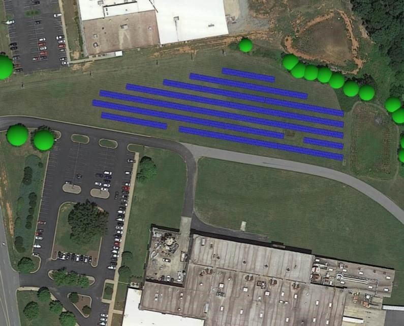 Helioscope Image of Contec's solar project layout