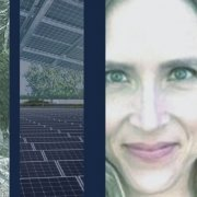 Collage of Rebecca Morris, Director of Marketing & solar panels