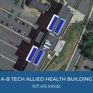 Project Title Card - Image of Helioscope of A-B Tech Allied Health Building Solar Installation, 107.415kWdc