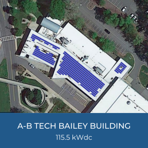 Project Title Card - Image of Helioscope of A-B Tech Bailey Building Solar Installation, 115.5kWdc