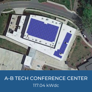 Project Title Card - Image of Helioscope of A-B Tech Conference Center Solar Installation, 117.04kWdc
