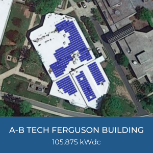 Project Title Card - Image of Helioscope for A-B Tech's Ferguson Building 105.875kWdc Solar Installation