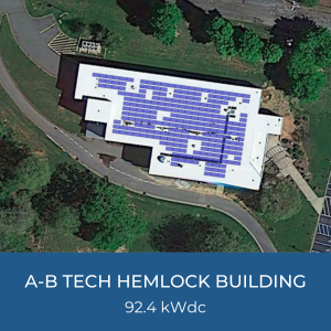 Project Title Card - Image of Helioscope of A-B Tech Hemlock Building Solar Installation, 92.4kWdc