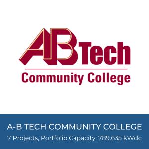 Portfolio Title Card - AB Tech Logo, 7 Solar Projects, Portfolio Capacity: 789.635kWdc