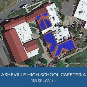Project Title Card - Image of Helioscope of Asheville High School Cafeteria Solar Installation, 118.58kWdc