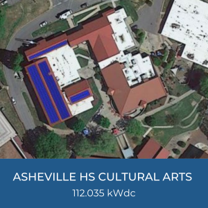 Project Title Card - Image of Helioscope of Asheville High School Cultural Arts Building Solar Installation, 112.035 kWdc