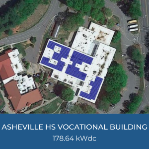 Project Title Card - Image of Asheville HS Vocational Building Helioscope for 178.64kWdc Solar Installation
