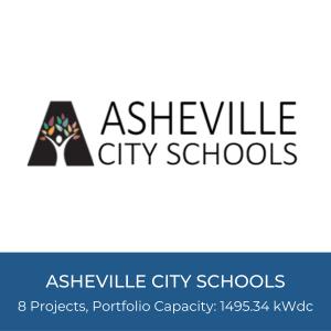 Portfolio Title Card - Asheville City Schools Logo and Portfolio Details - 8 Solar Projects, Portfolio Capacity=1495.34kWdc