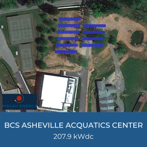 Project Title Card - Image is of Helioscope of BCS Asheville Acquatics Center, 207.9kWdc