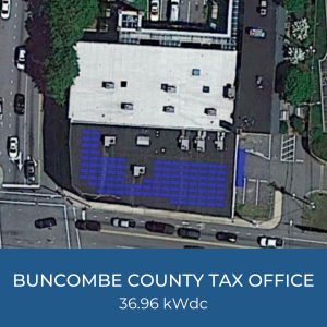 Project Title Card - Image of Buncombe County Tax Office Solar Project Helioscope, 36.96kWdc