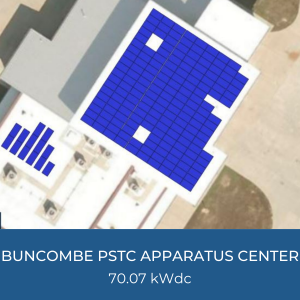 Project Title Card - Image of Helioscope of Buncombe PSTC Apparatus Center Solar Installation, 70.07kWdc