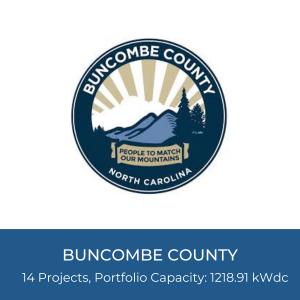 Portfolio Title Card - Buncombe County Government Logo, 14 Projects, Portfolio Capacity: 1218.91kWdc