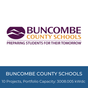 Portfolio Title Card - Buncombe County Schools Logo, 10 Projects, Portfolio Capacity: 3008.005kWdc