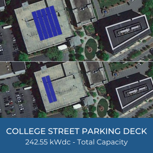 Project Title Card - Image of College Street Parking Deck Solar Installation Helioscopes 242.55kWdc Total Capacity