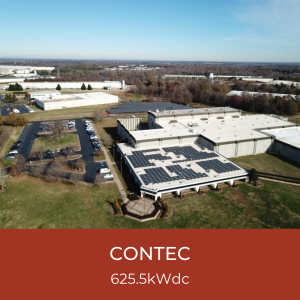 Contec Title Card - Image of Birds Eye View of Solar Installation at Contec Headquarters, Spartanburg SC, 625.5kWdc Solar System