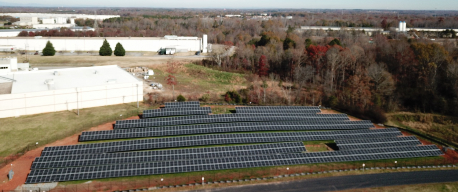 Birds Eye View of Contec HQs Ground Mounted Solar Installation