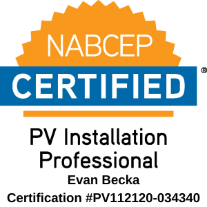 Image of the NABCEP logo for PV Installation Professionals, Evan Becka Certified, Certification #PV112120-034340