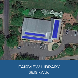 Project Title Card - Image of Fairview Library Solar Installation Helioscope, 36.19kWdc