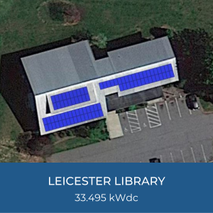 Project Title Card - Image of Helioscope of Leicester Library Solar Installation, 33.495 kWdc