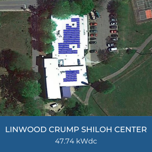 Project Title Card - Image of Helioscope of Linwood Crump Shiloh Center Solar Installation, 47.74kWdc