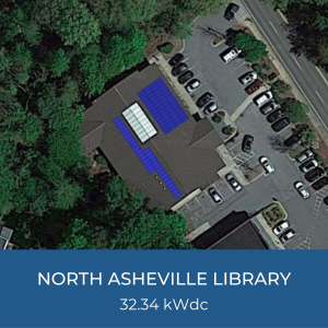 Project Title Card - Image of Helioscope of North Asheville Library Solar Installation, 32.34kWdc