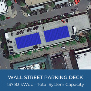 Helioscope of Wall Street Parking Deck Solar Installation, 137.83kWdc - Total System Capacity