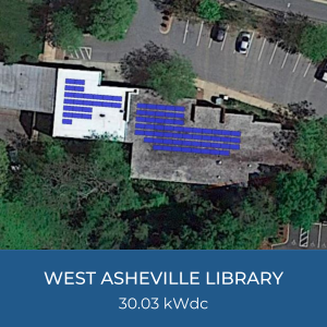 Project Title Card - Image of West Asheville Library Helioscope, Project Capacity 30.03kWdc