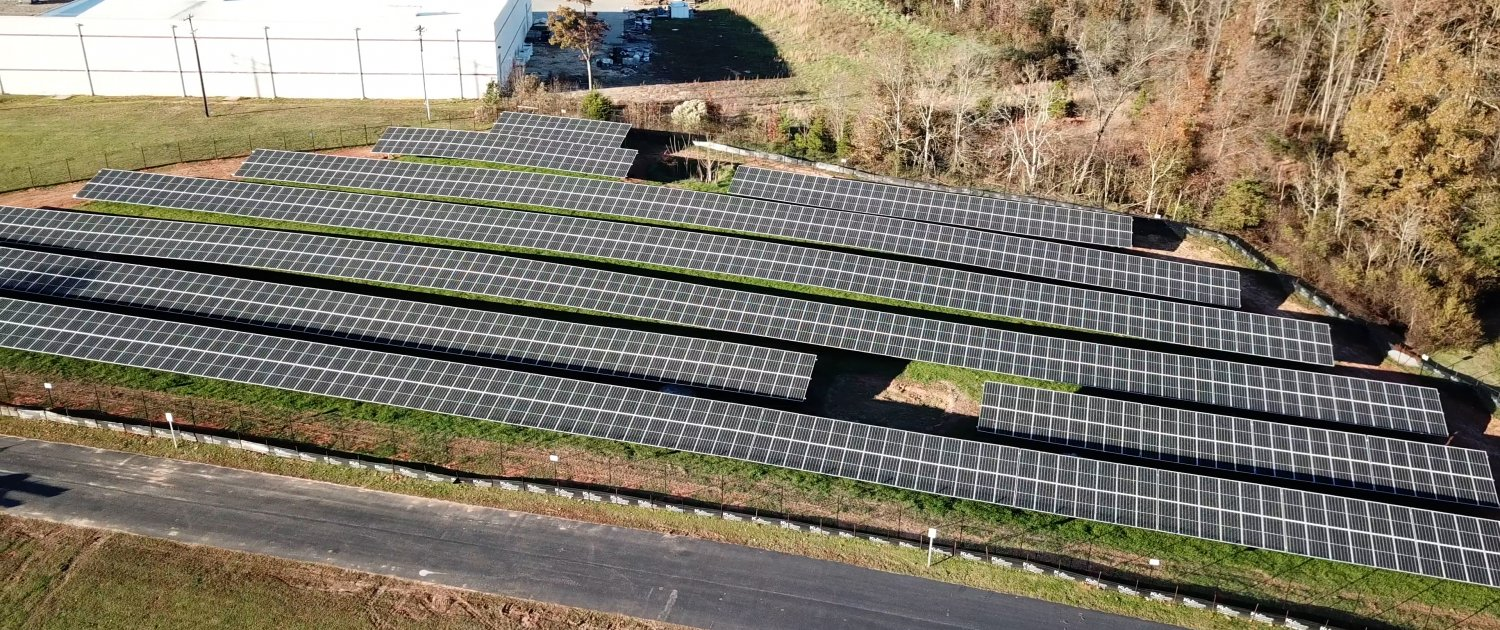 Overhead View of Ground Mount Solar Installation at Contec, Inc. Headquarters