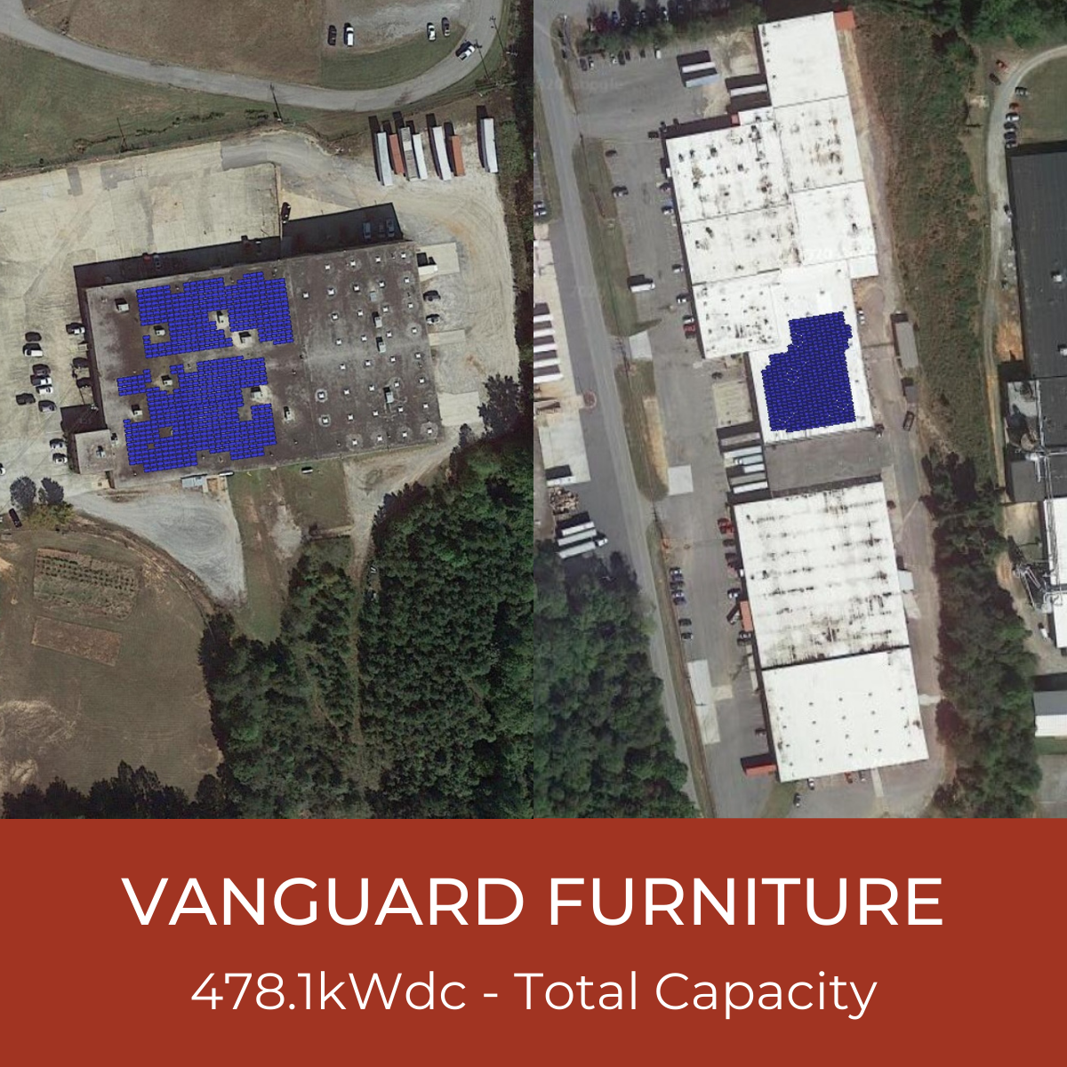 Vanguard Furniture Menu Tile - Collage of Solar Project Helioscopes, Total System Capacity - 478.1kWdc