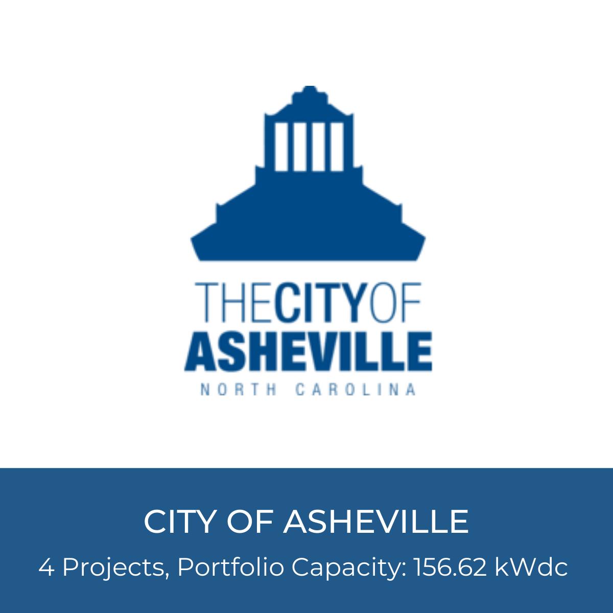 City of Asheville Logo, 4 Solar Projects, Portfolio Capacity: 156.62 kWdc